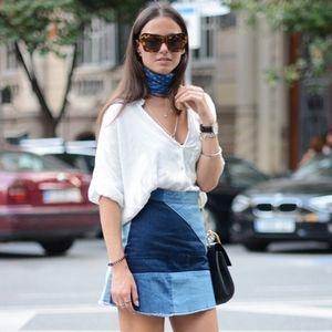 Zara   Denim Patchwork Mini Skirt